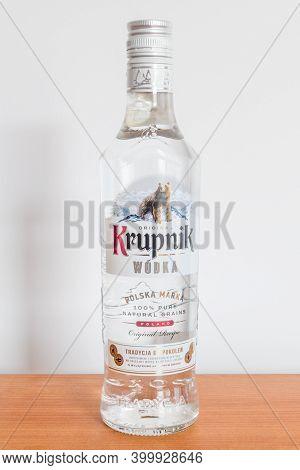 Pruszcz Gdanski, Poland - August 9, 2020: Krupnik, Polish Natural Grains Vodka.