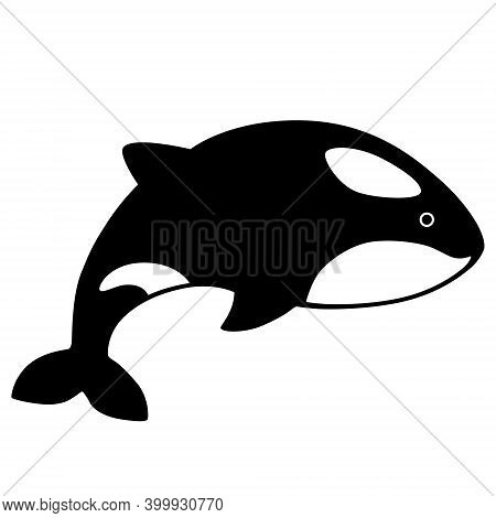 Black Silhouette Killer Whale Isolated On White Background. Flat Design For Poster Or T-shirt. Vecto