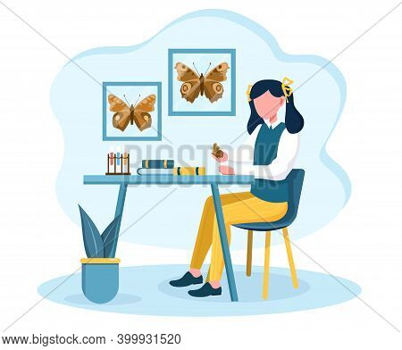 Young Girl Is Fond Of Entomology. Female Character Sitting At Table And Examining Butterflies At Hom