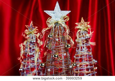 Wire Christmas Trees on Red Background