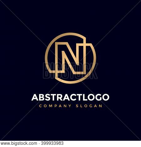 Brand And Business Logo With N Letter, Logotype Alphabet N Icon Circle And Ellipse Shape Monogram.