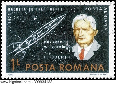 Saint Petersburg, Russia - September 27, 2020: Postage Stamp Issued In The Romania With The Image Of