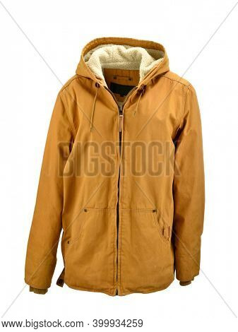 Winter coat on ghost mannequin isolated on white background