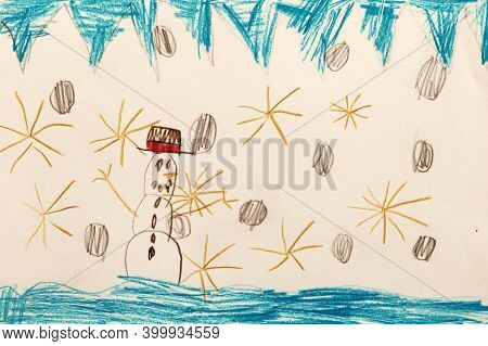 Seven Year Child's Drawing, Snowman And Snowflakes, Concept Of Happy New Year.