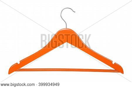 Clothes, Shoes And Accessories - Orange Wooden Clothes Hangers Isolated On A White Background.