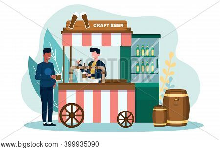 Male Customer Is Getting Draft Beer At Beer Stall. Concept Of Craft Beer Production And Brewing Proc