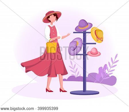 Female Character Trying On Hats In Hat Shop. Modern Hats Store Interior. Elegant Male And Female Sum