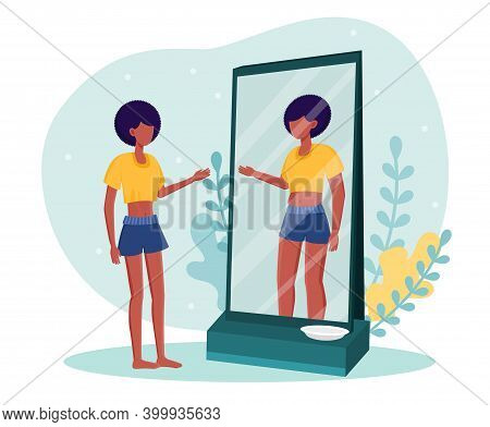 Young Skinny Woman Standing In Front Of Mirror With Empty Plate. Female Character Feels Like She Is
