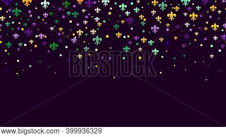 Seamless Horizontal Pattern Beautiful Geometric Yellow, Green, Purple Confetti On Black Background.