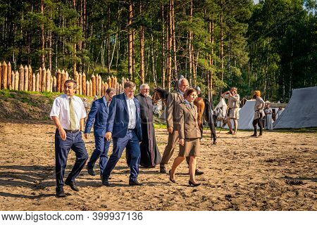 Cedynia, Poland June 2019 Historical Reenactment Of Battle Of Cedynia, Governor And Other Officials