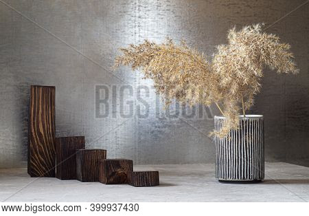 Wooden Catwalks Of Geometric Shape Made Of Dark Pine, Built With A Ladder And A Vase With Pampas Gra