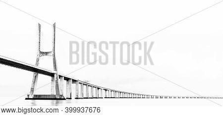 High Key Panorama View Of The Vasco Da Gama Bridge In Lisbon
