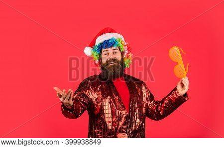 Cheerful Guy Colorful Hairstyle. Funny Man With Beard. Winter Holidays. Christmas Spirit. Disco Musi