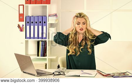Financial Crisis. Lack Of Income. How To Increase Income. Owner Of Small Business. Girl In Office An