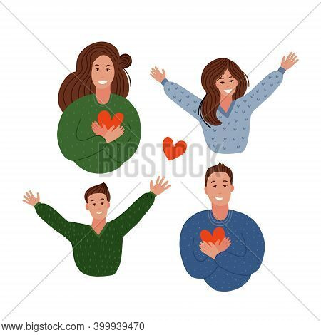 Happy Family. Parents Holding Hearts And Children Jumping. Delight, Joy, Victory Concept. Mom, Dad,