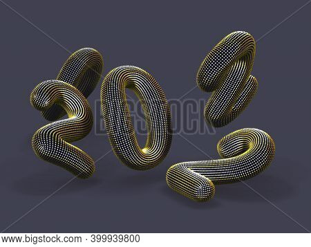 Scattered 3d Golden Numbers On Gray Background. Floating Digital Numbers Made Of Yellow Dots. Busine