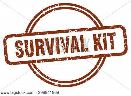 Survival Kit Grunge Stamp. Survival Kit Round Vintage Stamp