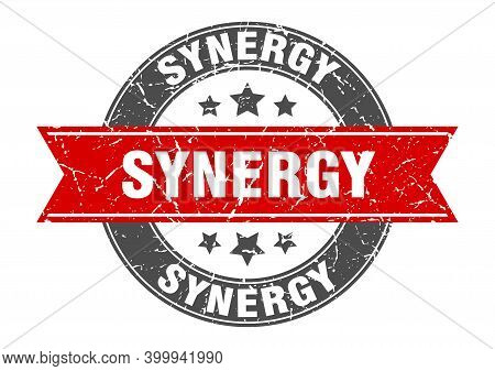 Synergy Round Stamp With Ribbon. Label Sign