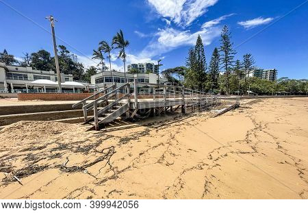 Redcliffe, Australia - December 17, 2020: View Of The Newly Constructed Access Ramp To The Beach In