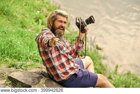 Best Way To Relax. Paparazzi Use Digital Camera. Photo Shoot Session. Handheld Shooting. Man Photogr