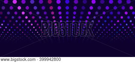 A Wave Of Musical Sounds. Abstract Background With Intertwining Multicolored Dots.vector Image.