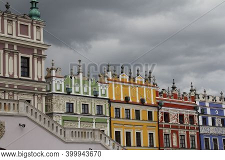Typical Architecture, Colorful Buildings, Decorations And Ornaments, Tenement Houses In The Center