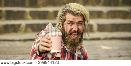 Caffeine Dose. Filter Coffee. Bearded Man Drink Beverage Urban Background. Hipster Relax On Stairs.