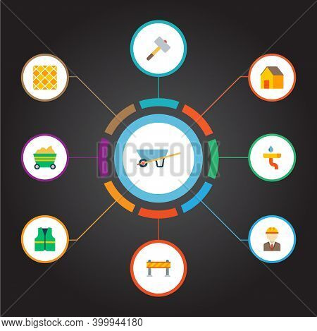 Set Of Construction Icons Flat Style Symbols With Wheel Barrow, Engineer, Trolley And Other Icons Fo