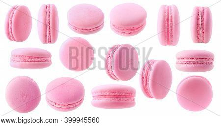 Isolated Strawberry Macaron Collection. 15 Pink Macaroons With White And Pink Creme Isolated On Whit