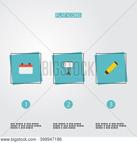 Set Of Workspace Icons Flat Style Symbols With Calendar, Whiteboard, Marker And Other Icons For Your