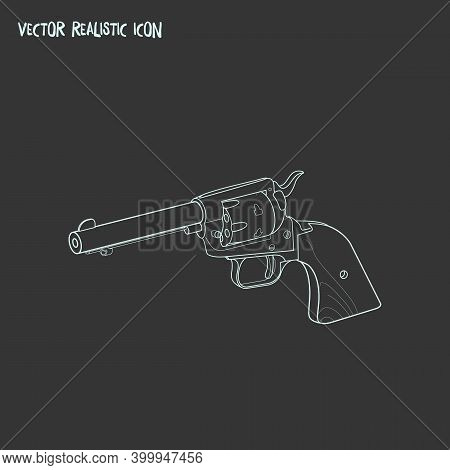 Revolver Icon Line Element. Vector Illustration Of Revolver Icon Line Isolated On Clean Background F