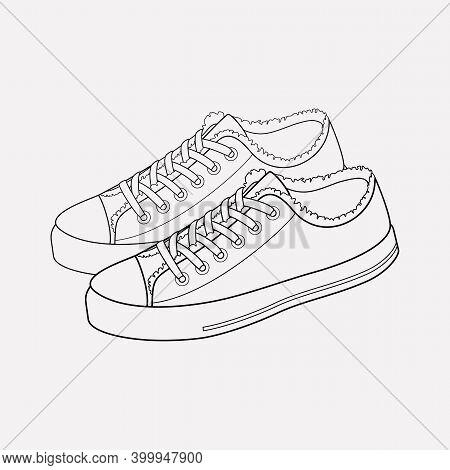 Canvas Shoes Icon Line Element. Vector Illustration Of Canvas Shoes Icon Line Isolated On Clean Back