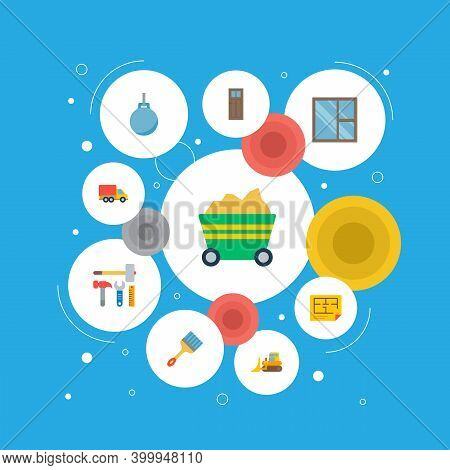 Set Of Construction Icons Flat Style Symbols With Moving Truck, Construction Tools, Casement And Oth