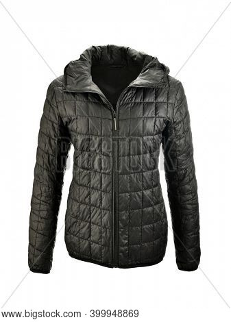 Black hoody puffer jacket on invisible mannequin isolated on white background
