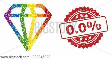 Diamond Collage Icon Of Spheric Elements In Different Sizes And Rainbow Color Tinges, And 0.0 Percen