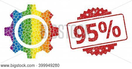Gear Wheel Collage Icon Of Filled Circle Dots In Various Sizes And Lgbt Bright Color Tones, And 95 P