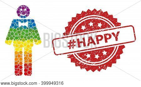 Happy Mister Collage Icon Of Spheric Blots In Variable Sizes And Lgbt Colored Color Tints, And Hasht