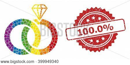 Jewelry Wedding Rings Collage Icon Of Filled Circle Items In Variable Sizes And Lgbt Color Tints, An