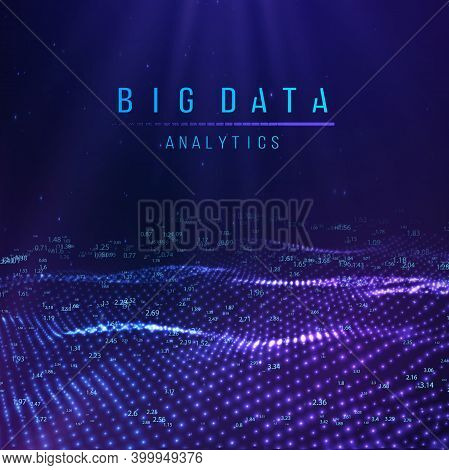 Blue Abstract Technology Background. Vector Data Wave Flow. Sound Wave Digital Technology Backdrop.