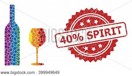 Wine Glassware Mosaic Icon Of Spheric Dots In Variable Sizes And Lgbt Multicolored Color Tones, And
