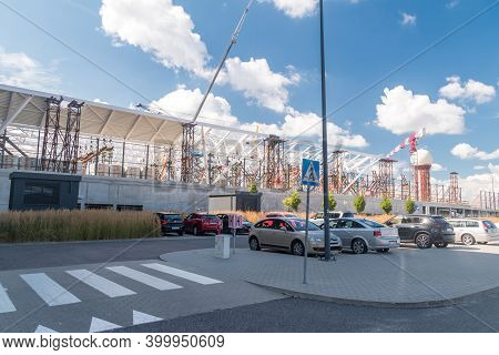 Gdanski, Poland - August 30, 2020: Expansion Of The Gdansk Lech Walesa Airport.