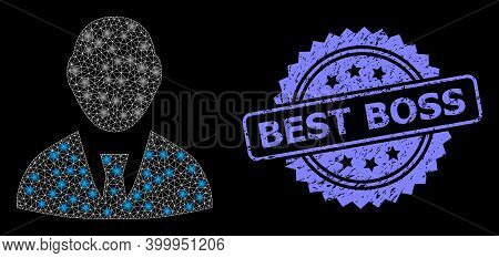 Glowing Mesh Web Boss With Glowing Spots, And Best Boss Rubber Rosette Stamp. Illuminated Vector Con
