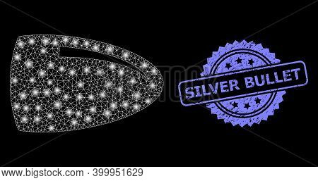 Glowing Mesh Net Bullet With Light Spots, And Silver Bullet Textured Rosette Stamp. Illuminated Vect