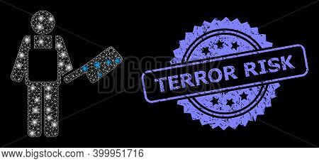 Glare Mesh Network Butcher With Light Spots, And Terror Risk Dirty Rosette Stamp. Illuminated Vector