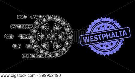 Bright Mesh Web Car Wheel With Lightspots, And Westphalia Grunge Rosette Seal Print. Illuminated Vec