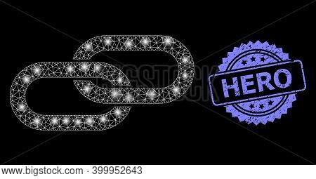 Glare Mesh Net Chain With Light Spots, And Hero Dirty Rosette Stamp. Illuminated Vector Model Create