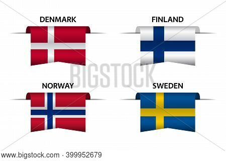 Set Of Four Danish, Finnish, Norwegian And Swedish Ribbons. Made In Denmark, Made In Finland, Made I