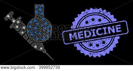 Bright Mesh Net Chemical Vaccine With Lightspots, And Medicine Scratched Rosette Stamp. Illuminated