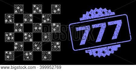 Bright Mesh Network Chess Board With Light Spots, And 777 Rubber Rosette Stamp Seal. Illuminated Vec