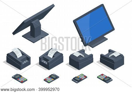 Isometric Set Of Shop Cash Register Equipments. Modern Tablet Pos Terminal With Barcode Scanner And